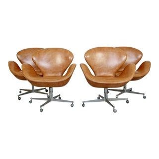 1960s Mid-Century Modern Arne Jacobsen Fritz Hansen Brown Leather Swan Chairs - Set of 4