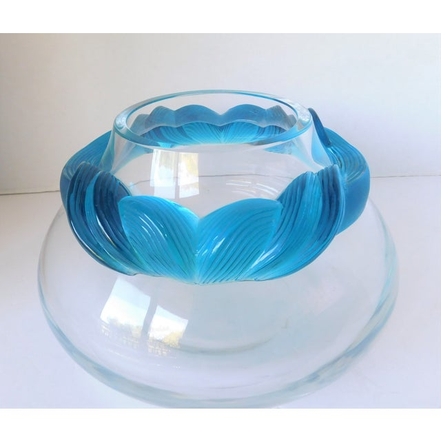 1980s Turquoise and Clear Crystal Vase/Vessel For Sale - Image 13 of 13