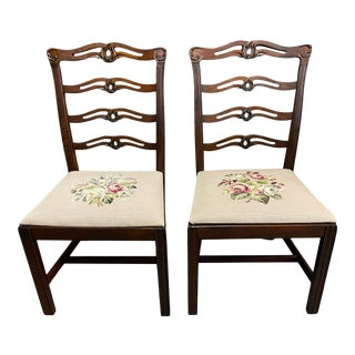 Pair of Vintage Ribbon Back Mahogany Chairs W/Needlepoint Seat Cushions For Sale