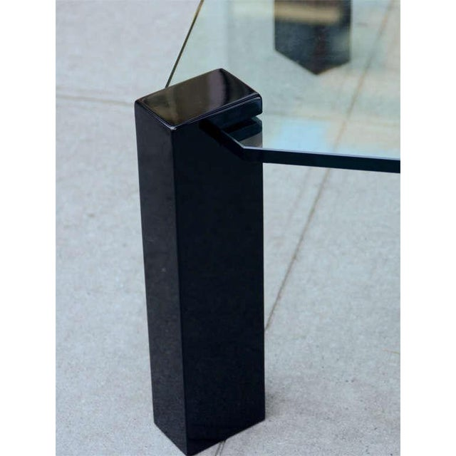 Contemporary Exceptional Modernist Black lacquer and Glass Cocktail Table For Sale - Image 3 of 9