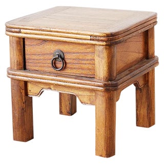 Diminutive Chinese Elm Square Stool With Drawer For Sale