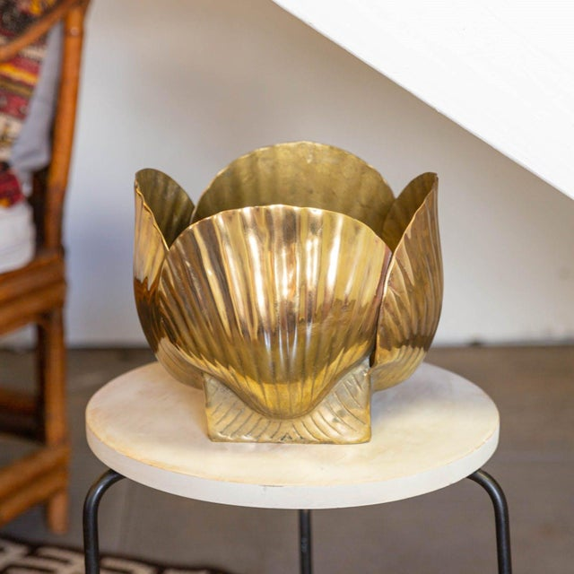 Mid 20th Century Vintage Brass Shell Vase For Sale - Image 4 of 4