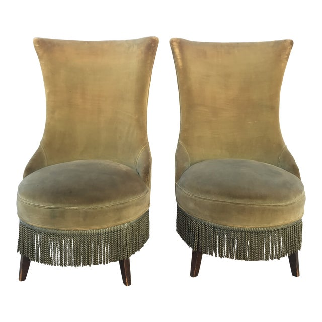 1940s Hollywood Regency Armless Slipper Chairs - a Pair For Sale