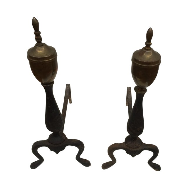 Petite Iron & Brass Andirons - A Pair - Image 1 of 5