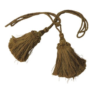 Pair of Large Twisted Silk Rope Gold Tassels For Sale