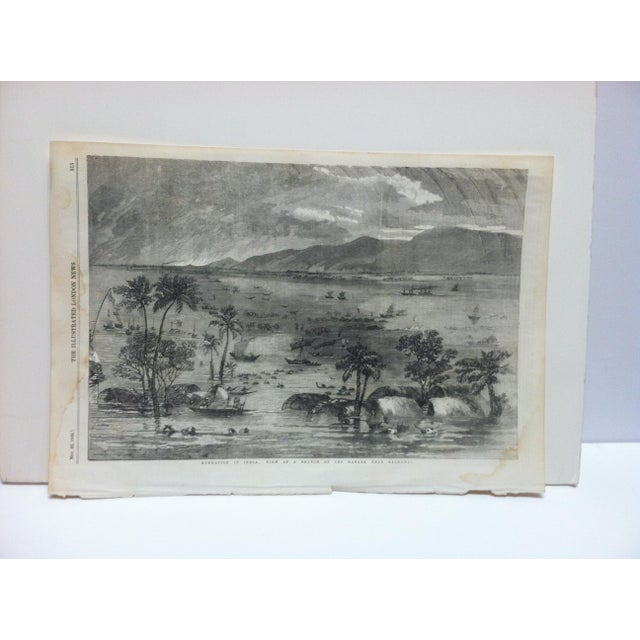 "Mid 19th Century 1856 Antique Illustrated London News ""View of a Branch of the Ganges - Near Rajmahal"" Print For Sale - Image 5 of 5"