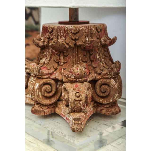 Italian Lamp Fashioned From Carved Capital For Sale - Image 3 of 6