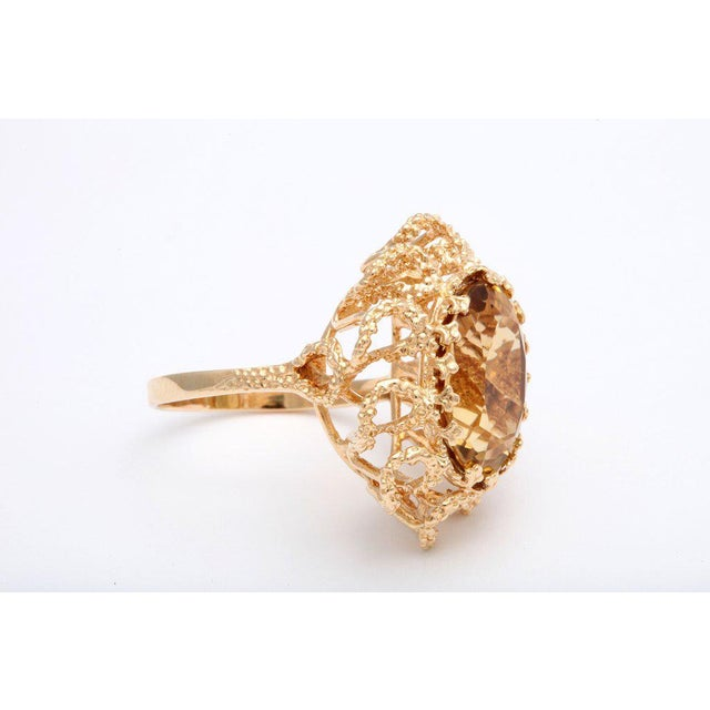 60's Brutalist Citrine Melted Gold Swirls Cocktail Ring For Sale - Image 4 of 7