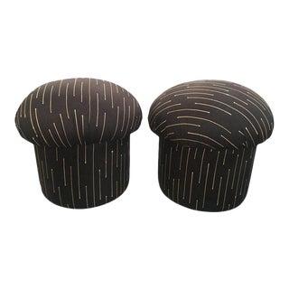 1970s Vintage Mushroom Poufs Ottoman Stools - a Pair