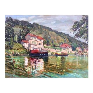 """The River Marne"" Contemporary Impressionist Style Oil Painting by Humbert Curcuru For Sale"