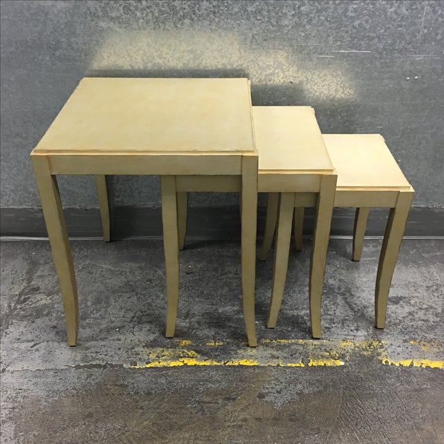 New Loggia Showroom Wooden Nesting Tables With Metallic Finish - 3 - Image 3 of 7