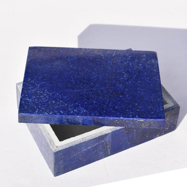 2010s Blue Lapis Lazuli and Marble Stone Rectangular Decorative Jewelry or Trinket Box For Sale - Image 5 of 7