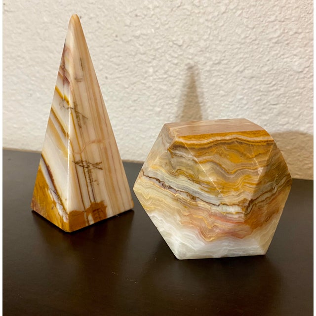 Onyx Geometric Sculptural Desk Paperweights - a Pair For Sale - Image 4 of 7