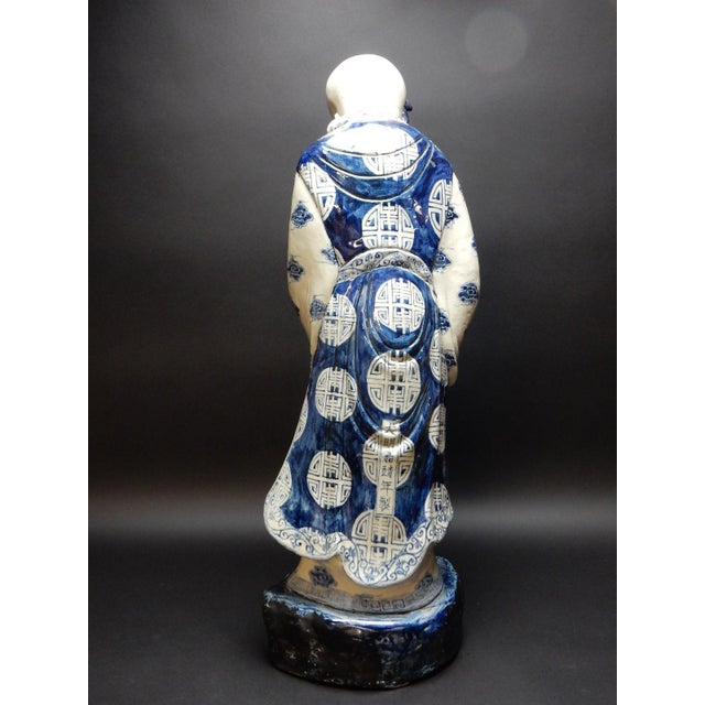 Antique Chinese Blue and White Porcelain Statue of Shoulao 32 Inches For Sale - Image 6 of 13