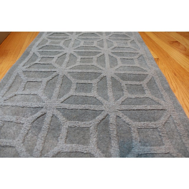 """Gray Blue Moroccan Runner - 2'3"""" X 8' - Image 3 of 4"""