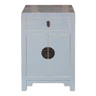 Contemporary Gray Wooden Side Chest For Sale