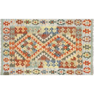 "Contemporary Afghan Maimana Kilim - 2'7"" X 4'2"" For Sale"