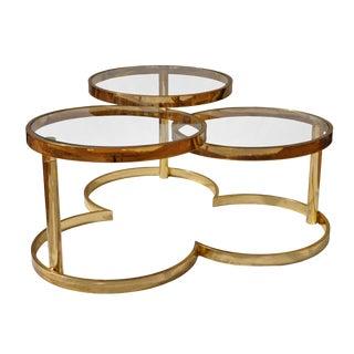 Brass Clover Swivel Coffee Table