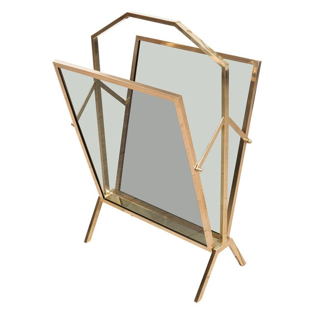 1960s Vintage Smoked Glass Brass Magazine Rack For Sale - Image 5 of 5