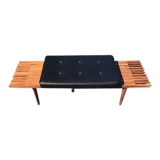 Mid Century Walnut Slat Bench For Sale