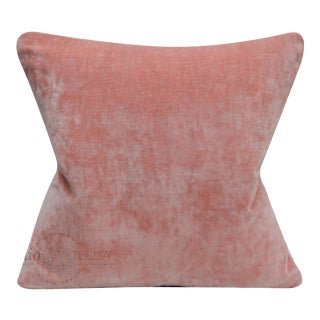 Light Coral Velvet With Linen Pillow Cover - 20x20 For Sale