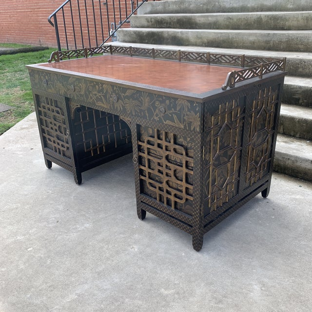 Amazing fretwork all around this vintage Drexel Mandalay Chinoiserie desk! Beautiful condition with just a couple repairs...