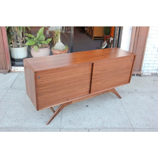 Brown Mid-Century Walnut Credenza For Sale - Image 8 of 12