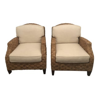 Woven Baker Furniture Accent Chairs - A Pair For Sale