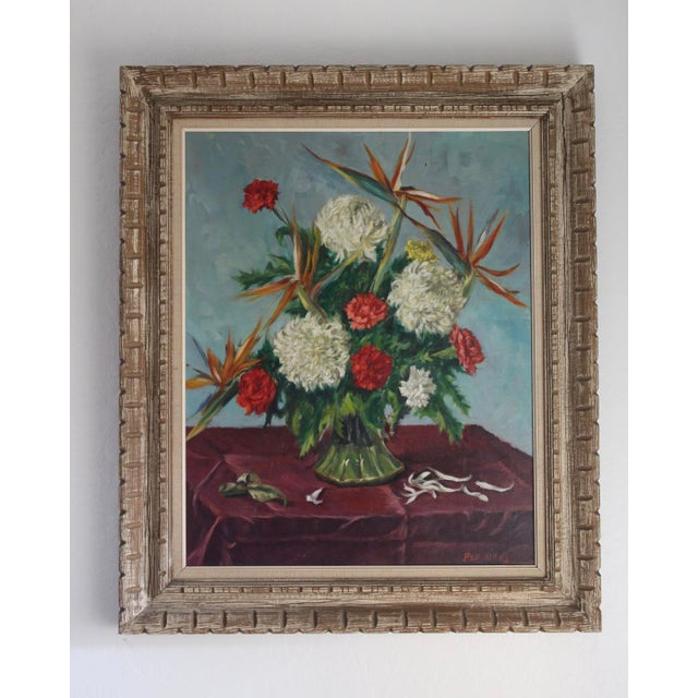 Contemporary Still Life Flowers With Burgundy Cloth Painting by Ben Wilks For Sale - Image 3 of 13