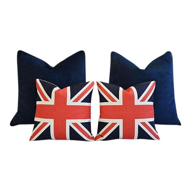 Custom Tailored Blue Velvet & Union Jack Flag Feather/Down Pillows - Set of 4 For Sale