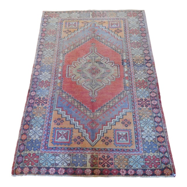 "Vintage Turkish Oushak Rug - 3'9"" X 5'6"" - Image 1 of 5"
