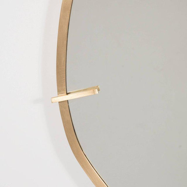 Sophisticated Custom Handmade Organic Modernist Mirror in Burnished Brass - Image 2 of 4