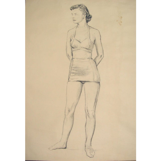 Mid-Century Modern Charcoal Figure Study by C.B. Normann For Sale - Image 3 of 3