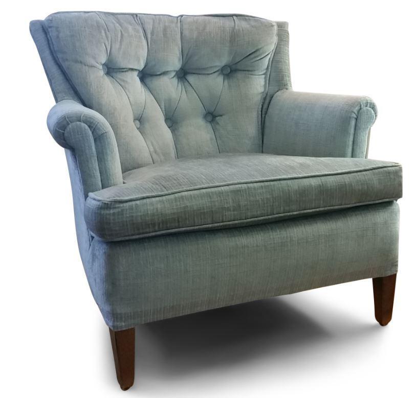 Blue 1960s Hollywood Regency Light Blue Velvet Tufted Lounge Chair For Sale    Image 8 Of