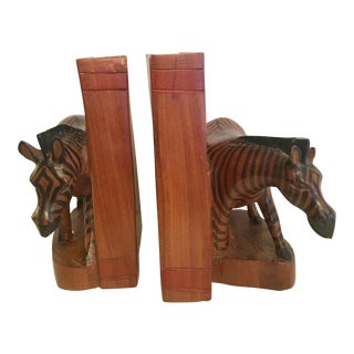 Hand-Carved Kenyan Zebra Bookends For Sale