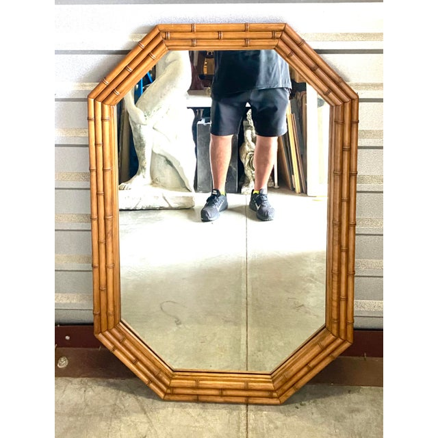 Wood Coastal Carved Bamboo Mirror For Sale - Image 7 of 7