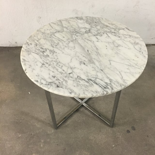 Marble Side Table with Chrome Base For Sale - Image 4 of 5