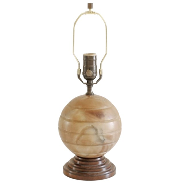 1930s Vintage Agate Table Lamp For Sale
