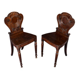 18th Century Traditional Mahogany Hall Chairs - a Pair