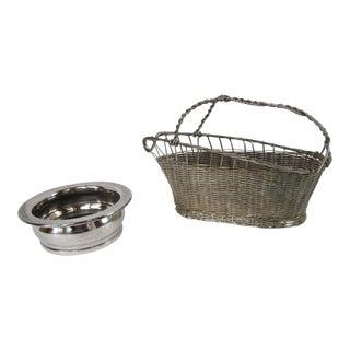 Vintage Wine Coaster and Basket For Sale