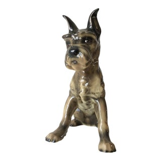 Vintage Ceramic Mini Schnauzer/Scottish Terrier Dog Figurine For Sale