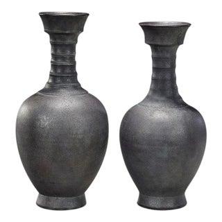 Song Dynasty Style Vases in Gunmetal Ceramic - Set of 2 For Sale