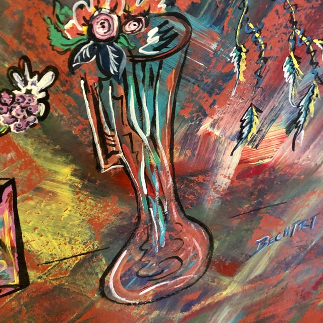 Mid 20th Century Large Mid-Century Abstract Floral Oil Painting on Canvas For Sale - Image 5 of 9
