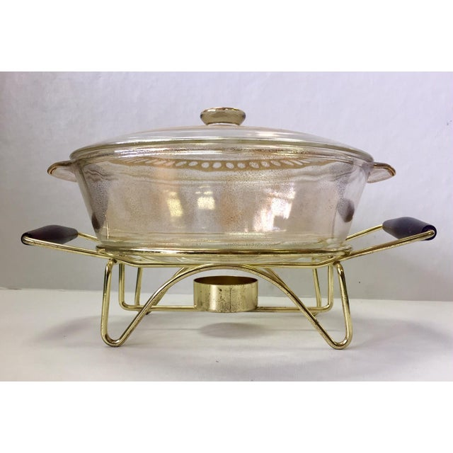 Anchor Hocking 1960s Anchor Hocking Casserole Dish With Candle Warmer & Walnut Handle Caddy For Sale - Image 4 of 12