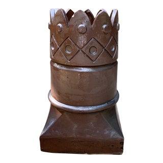 Antique 1800's English Salt Glazed Terracotta Crown Design Chimney Flue For Sale