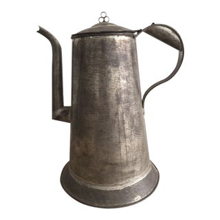 1900s Antique Handmade Tin Pitcher For Sale