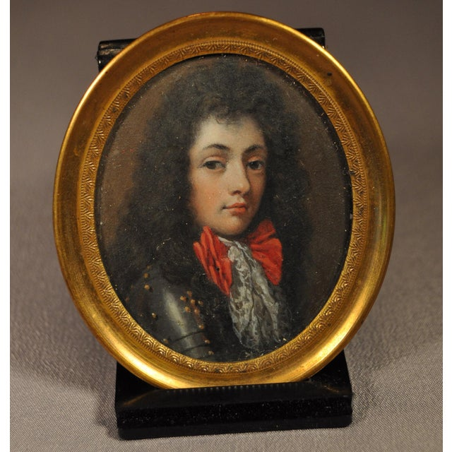 Portraiture Miniature Portrait of Young King Louis XV Wearing a Suit of Armor 19th C. For Sale - Image 3 of 3