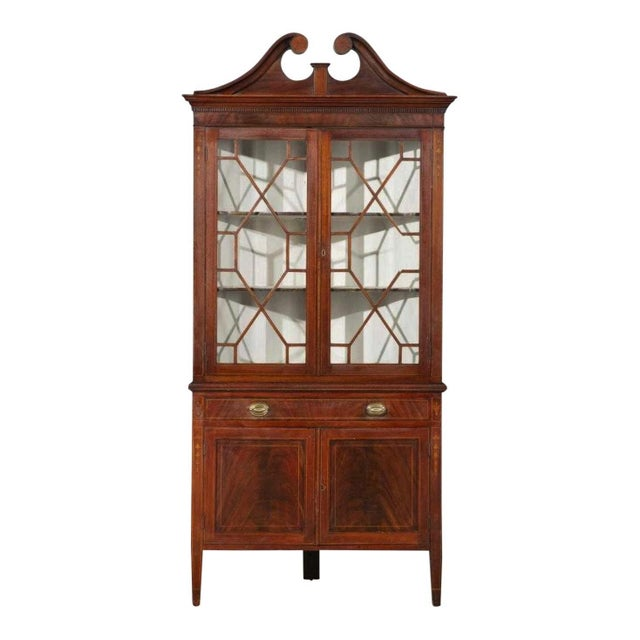 Federal Antique American Federal Style Mahogany Display Corner China Cabinet For Sale - Image 3 of 3