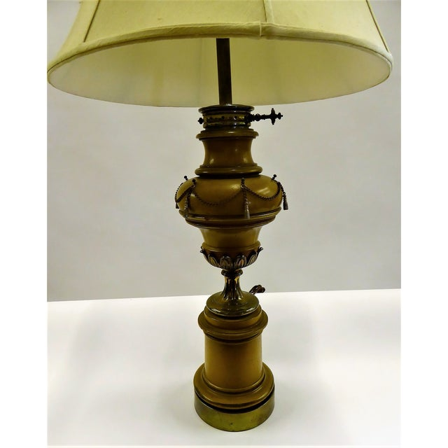 1940s Tall Hollywood Regency Faux Oil Table Lamp For Sale - Image 11 of 11