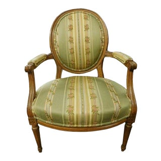 French Brocade Fauteuil French Louis XVI Armchair Paris Apartment Armchair For Sale